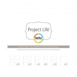 Paquete de 60 sobres para albumnes de Project Life. Tamaños variados.