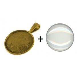 bases para camafeo con cabochon de vidrio, color oro antiguo, tamaño de la abertura 25 mm