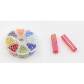 Caja de abalorios Canutillo de vidrio Rainbow, tamaño 6x1,8mm.