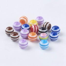 Perlas acrilicas con rayas en colores variados. Tamaño 8mm
