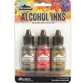 Tintas de Alcohol de Ranger, colores Crimson,Aquamarine,Sepia