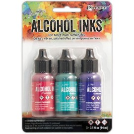 Tintas de Alcohol de Ranger, colores Flamingo, Patina, Amethyst