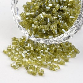 Abalorios de canutillo de vidrio Verde Oliva, tamaño 8/0