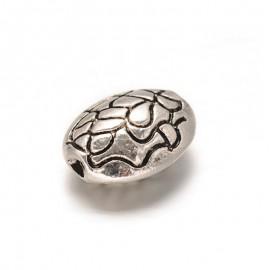 Separadores Ovalados, en estilo Tibetano. Metal, color Plata Antigua