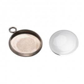 Bases de camafeo en acero inoxidable con cabochon de vidrio