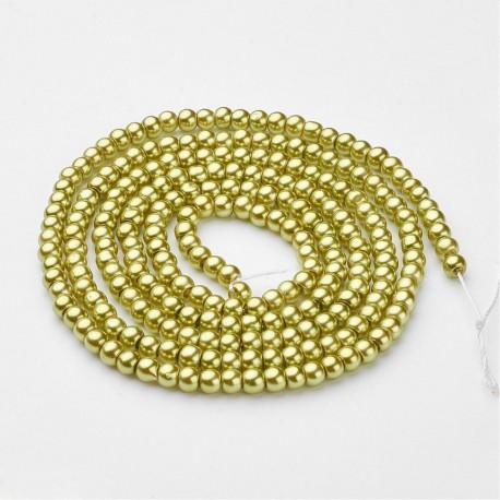 Perlas de vidrio color Verde Amarillo de 4mm