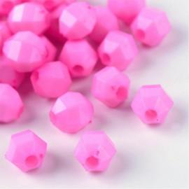 Perlas facetadas en color rosado