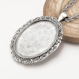 Base para de camafeo Ovalado de metal, color Plata Antigua