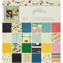 """Block cartulina estampada""""Birthday Wishes"""" de Pebbles, 12x12"""""""