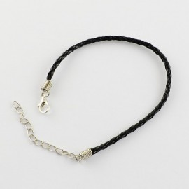Pulseras de cordón trenzado negro con cierre de langosta