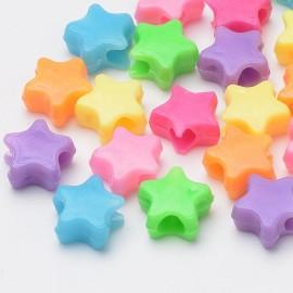 Paquete de estrellas de colores, plastico, 10x11x5mm