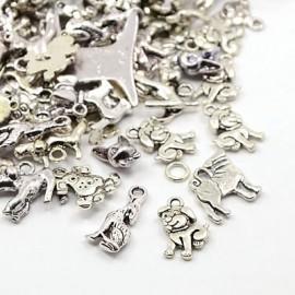 Paquete de dijes de perro surtidos color plata antigua