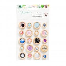 Embellecedores botones de madera de Shimelle.